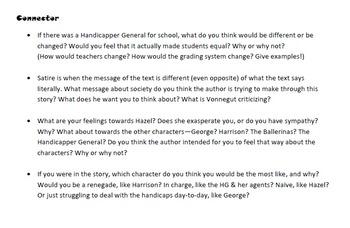 Harrison bergeron essay questions