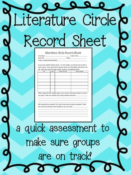 FREE - Literature Circles: Record Sheet