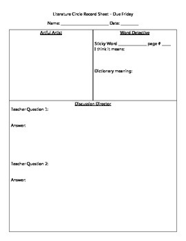 Literature Circle Recording Sheet