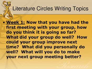 Literature Circle Reflection Writing Assignments