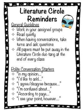 Literature Circle Reminders