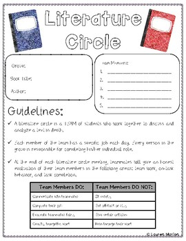 Literature Circle PRINT and GO! Resources