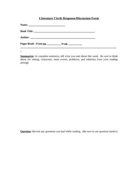 Literature Circle Response Form