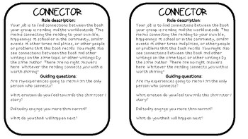 Literature Circle Role Cards