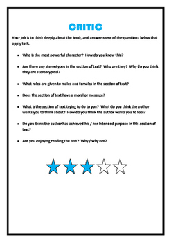 Literature Circle Role Cards and Assessment