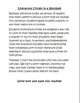 Literature Circle 2 Week Plan and Resources