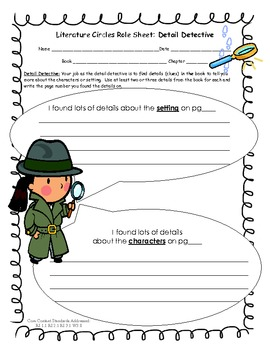 Literature Circle Role Sheet- Detail Detective, CCSS aligned