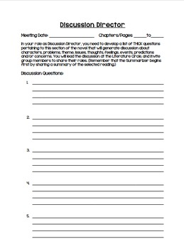 Literature Circles Role Sheets, Activities and Instructions