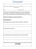 Literature Circle Role Sheets for novel study