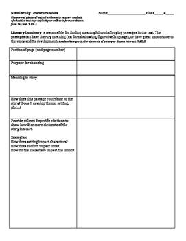 Literature Circle Roles - 7th Grade Common Core Aligned