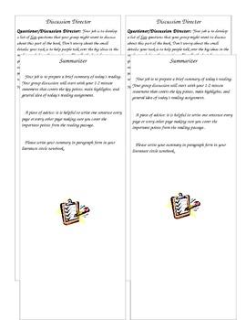Literature Circle Roles Bookmark Form