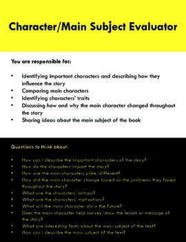 Literature Circle Roles with Comprehension Questions