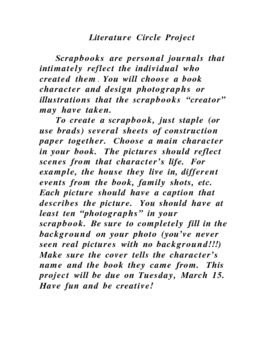 Literature Circle Scrapbook