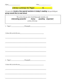 Literature Circle Sheets/Activities