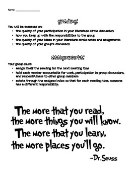 Literature Circle Student Packet (With Role Descriptions and Worksheets!)