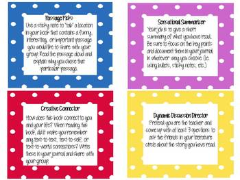 Literature Circle Student Responsibility Cards