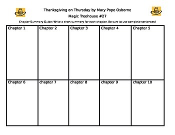 "Literature Circle Guide for ""Thanksgiving on Thursday"" Magic Tree House #27"
