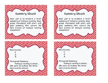 Literature Circle Task Cards & Poster Set