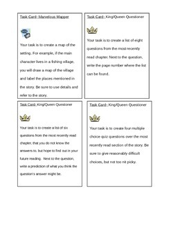 Literature Circle Task Cards and Activities