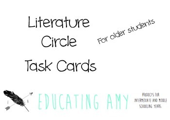 Literature Circle Task Cards for Older Students