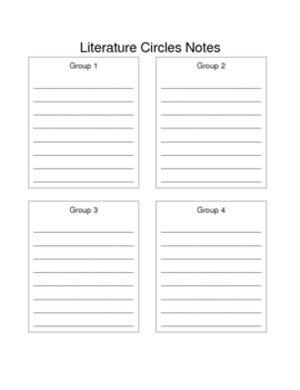 Literature Circle Teacher Notes