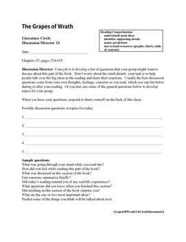 Literature Circle:  The Grapes of Wrath with Common Core Curriculum Standards