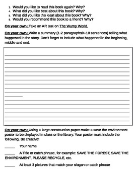 Literature Circle - The Wump World - Grade 2/3