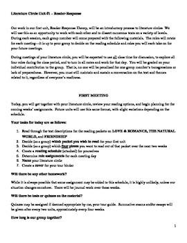 Literature Circle Unit Packet #1 - Reader-Response