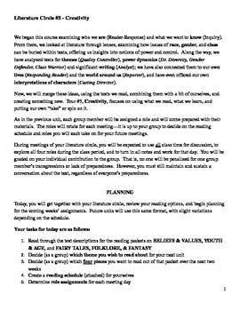 Literature Circle Unit Packet #5 - Creativity