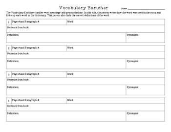 Literature Circle Vocabulary Enricher Worksheet By Ella Lozon Tpt