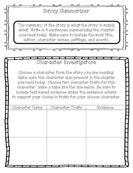 Literature Circle Worksheets/Printables