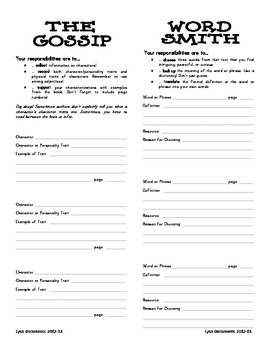 Literature Circle or Book Club Job Forms