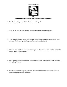 Literature Circle or Homework Questions for Science-Fiction and Fantasy Novels