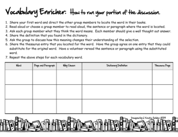 Literature Circles Activities, Worksheets, Rubric, Job Packet, Guide