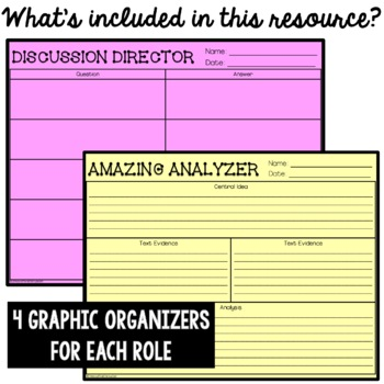 Literature Circles Activity Pack- Role Cards and Graphic Organizers