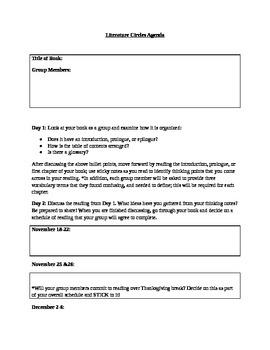 Literature Circles Agenda Student Sheet