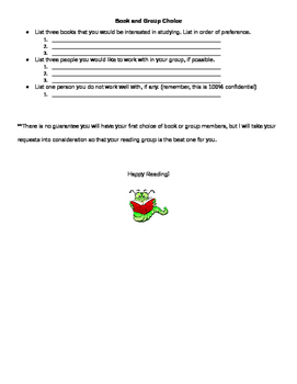 Literature Circles: Book Pass Review Sheet