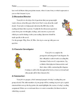Literature Circles Booklet