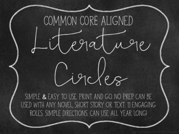 Literature Circles: Common core alligned