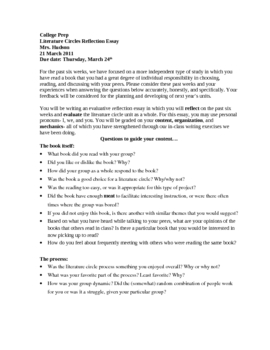 Literature Circles Evaluation/Reflection Essay-prompt and rubric