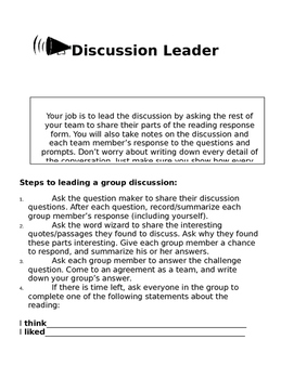 Literature Circles Group Roles