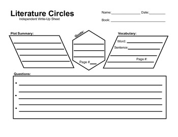 Literature Circles Independent Write Up Sheet