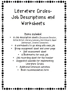 Literature Circles: Job Descriptions, Worksheets, and more!
