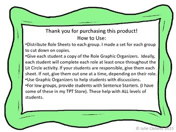 Literature Circles Jobs and Graphic Organizers