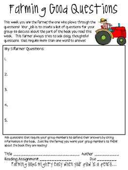 Literature Circles Packet..From Down on the Farm!