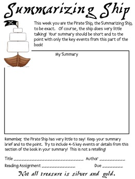 Literature Circles Packet...Prepare to Get your Sea Legs! (pirates)
