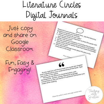 Literature Circles Reading Notes & Responses: Journal for Google Classroom