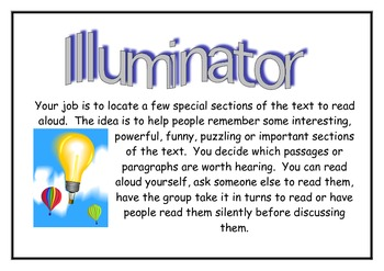 Literature Circles Role Explanation Cards/Posters