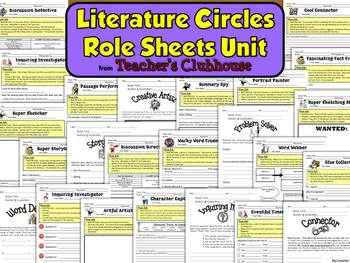Literature Circles Role Sheets Unit from Teacher's Clubhouse