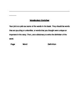 Literature Circles Student Handouts Grades 1-3